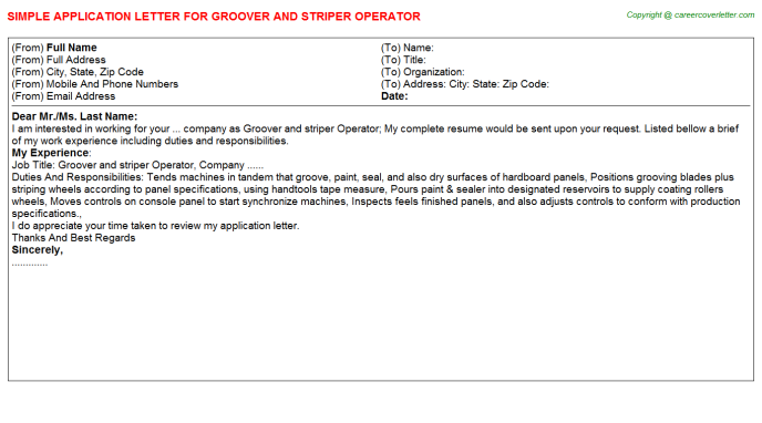 groover and striper operator application letter template