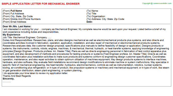 Mechanical Engineer Application Letter Template
