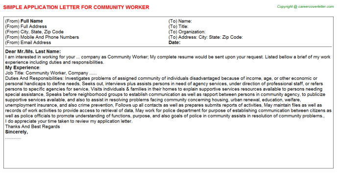 community worker application letter template