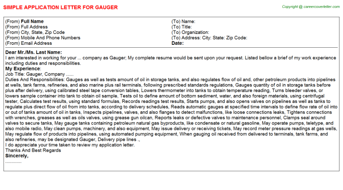 Gauger Job Application Letter Template