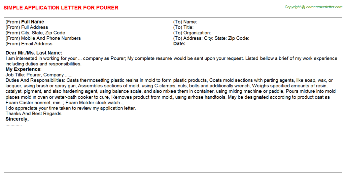 Pourer Job Application Letter Template