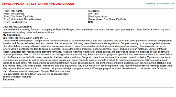 Pipe line Gauger Application Letter Template