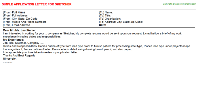 Sketcher Application Letter Template