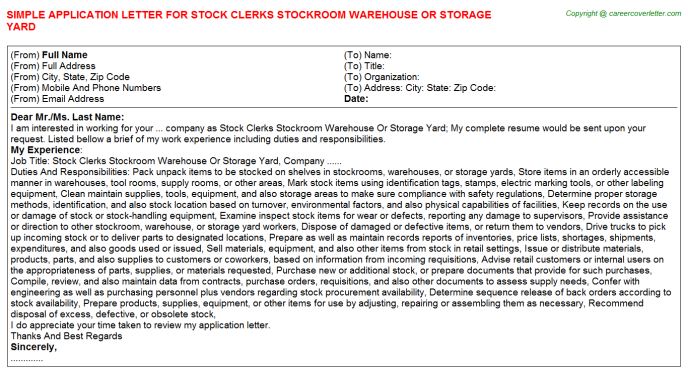 Stock Clerks Stockroom Warehouse Or Storage Yard Application Letter Template