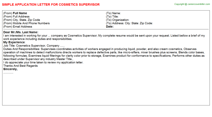 cosmetics supervisor application letter template