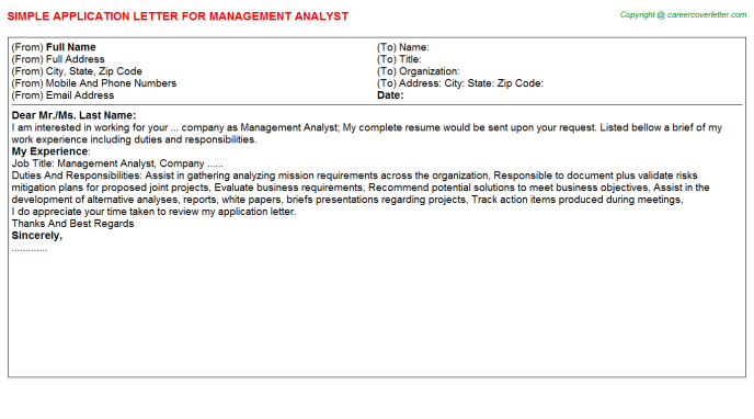 Management Analyst Application Letter Template