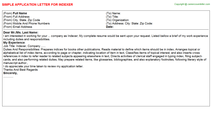 Indexer Application Letter Template