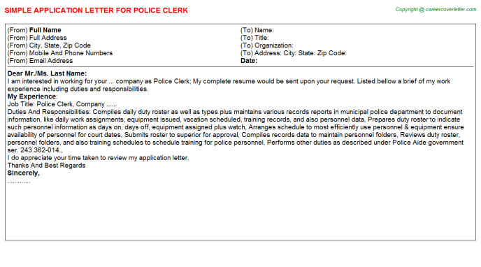 police clerk application letter template