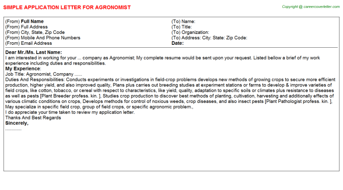 Agronomist Job Application Letter Template