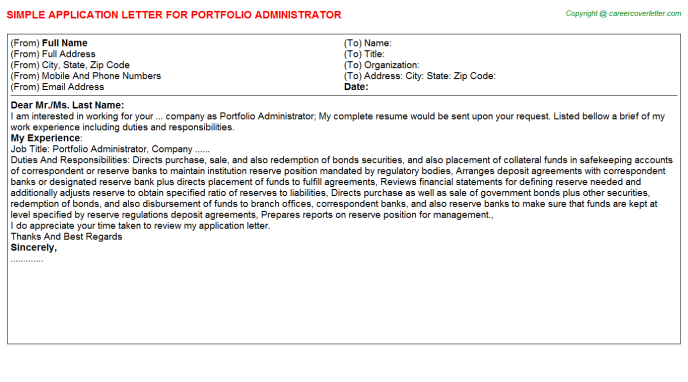 portfolio administrator application letter template