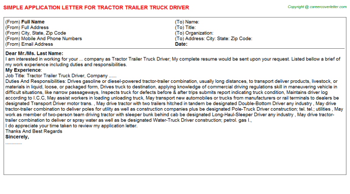Tractor Trailer Truck Driver Career Samples