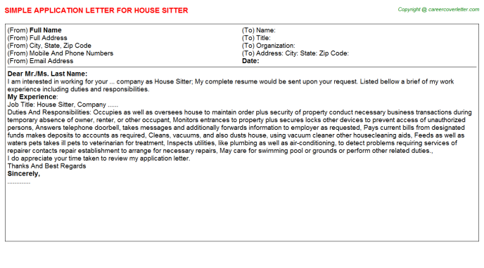 House Sitter Application Letter Template