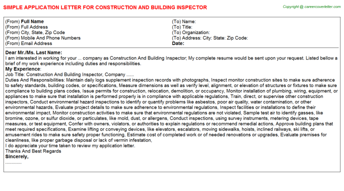Construction And Building Inspector Job Application Letter