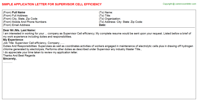 supervisor cell efficiency application letter template