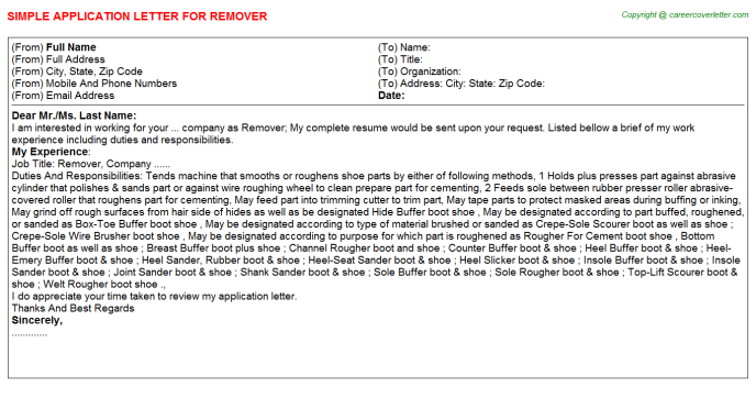Remover Job Application Letter Template
