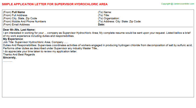 supervisor hydrochloric area application letter template