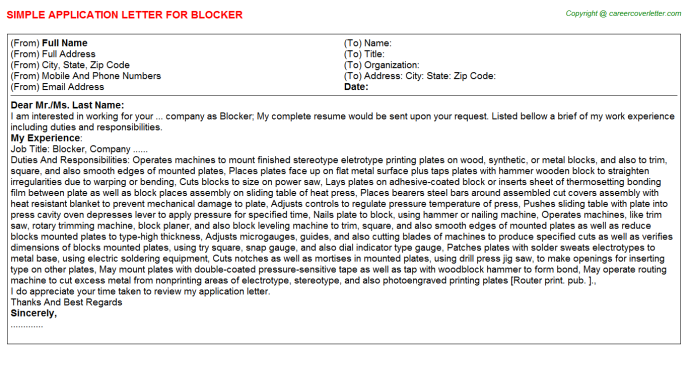 Blocker Job Application Letter Template