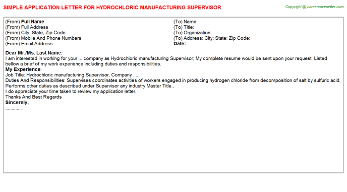 hydrochloric manufacturing supervisor application letter template