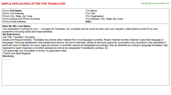 Translator Job Application Letter Template