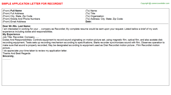 Recordist Application Letter Template