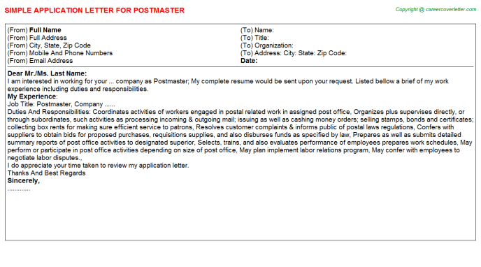 Postmaster Application Letter Template