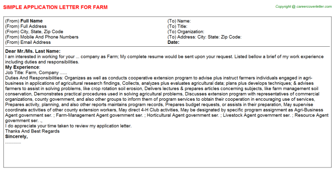Farm Application Letter Template