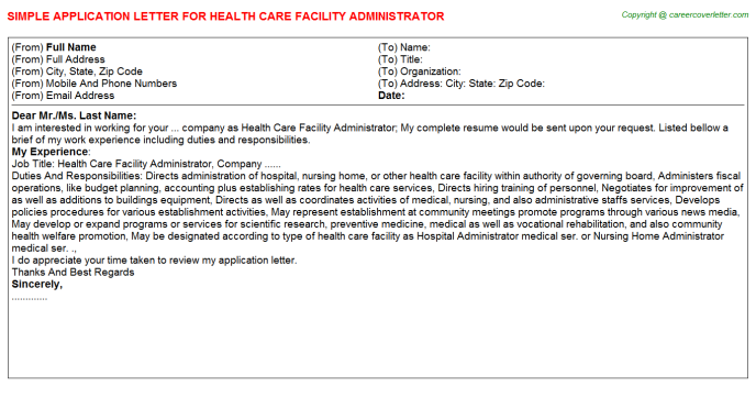 health care facility administrator application letter template