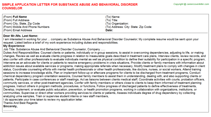 Substance Abuse And Behavioral Disorder Counselor Application Letter Template