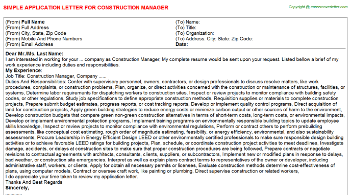 Construction Manager Application Letter Template