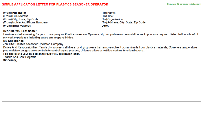 plastics seasoner operator application letter template