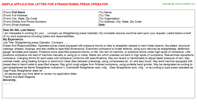 Straightening Press Operator Job Application Letter Template