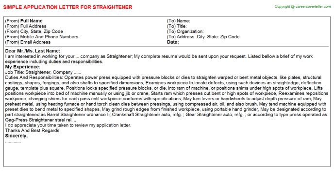 Straightener Application Letter Template