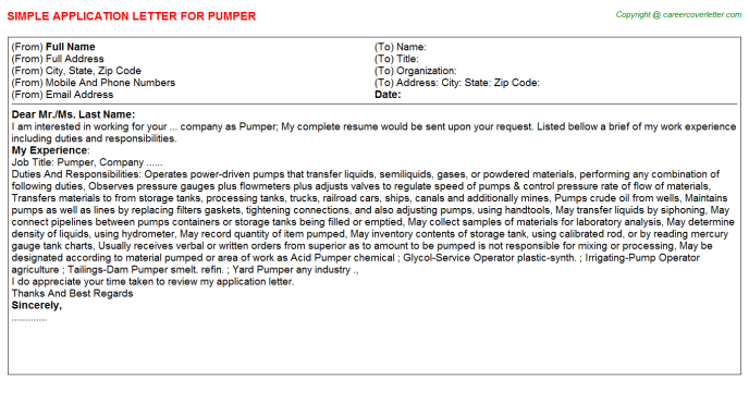 Pumper Application Letter Template