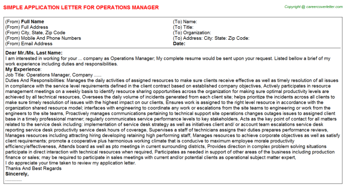operations manager application letter template
