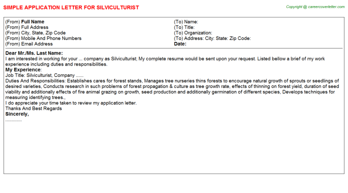 Silviculturist Application Letter Template