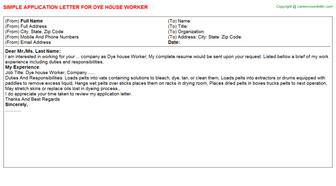 Dye house Worker Application Letter Template