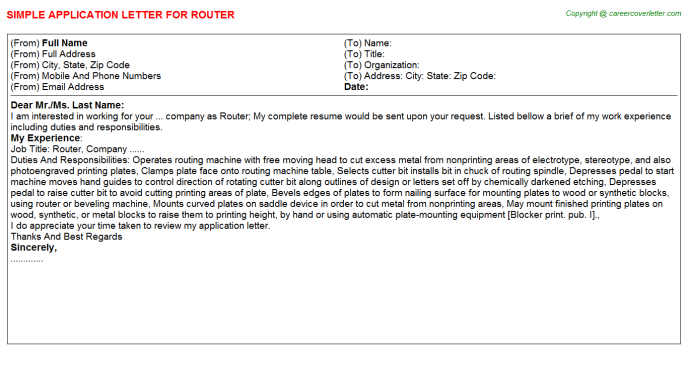 Router Application Letter Template