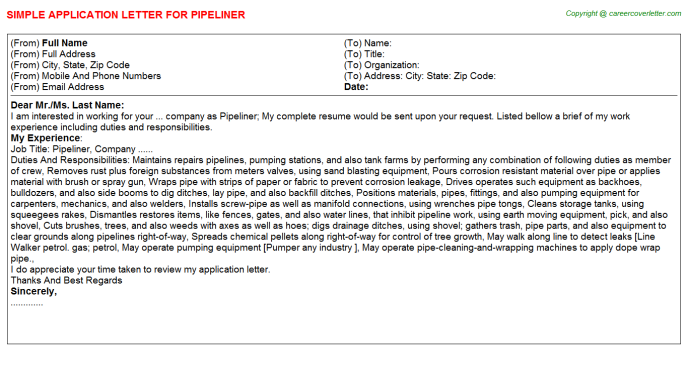 Pipeliner Application Letter Template