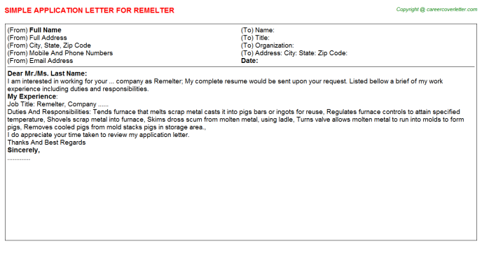 Remelter Application Letter Template