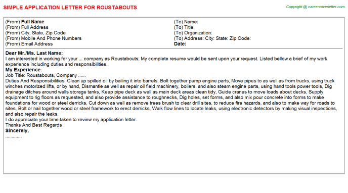 Roustabouts Application Letter Template