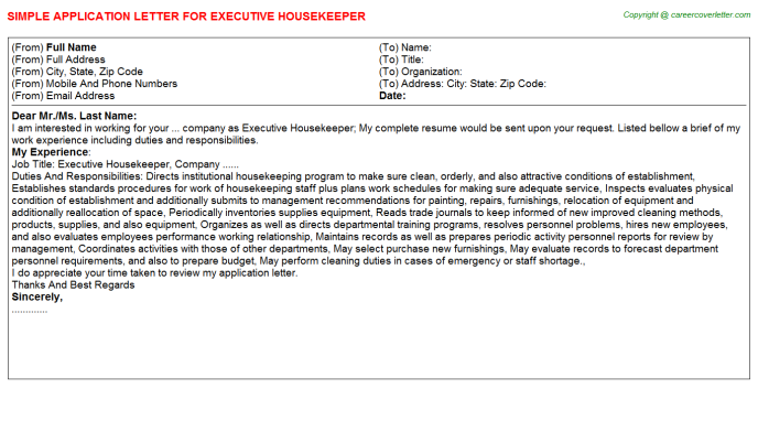 Executive Housekeeper Application Letter Template