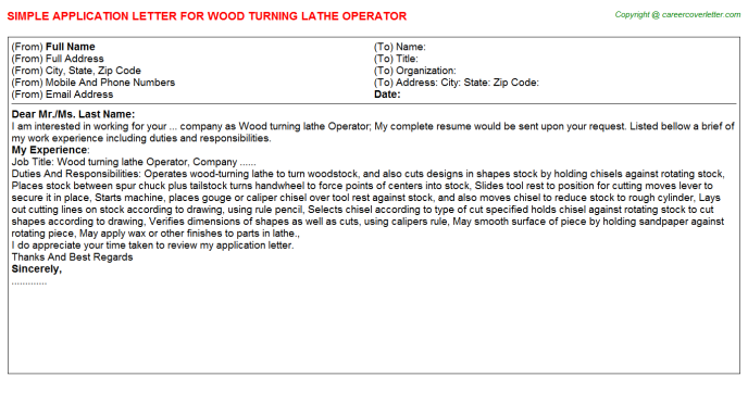 wood turning lathe operator application letter template