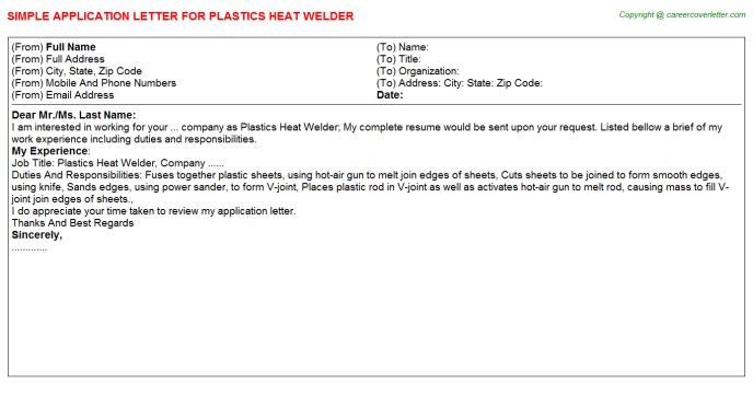 plastics heat welder application letter template