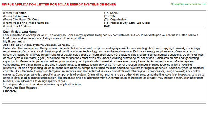 Solar Energy Systems Designer Application Letter Template