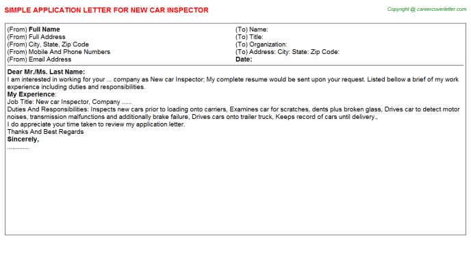 New Car Inspector Application Letter