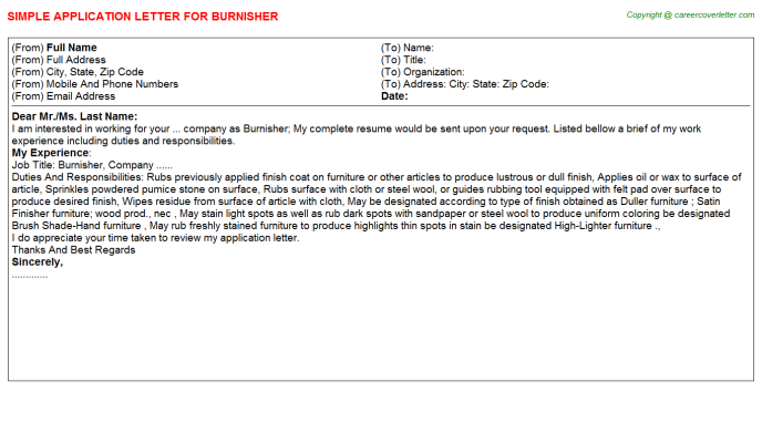 Burnisher Application Letter Template