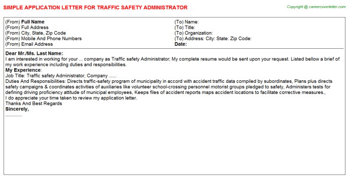 traffic safety administrator application letter template