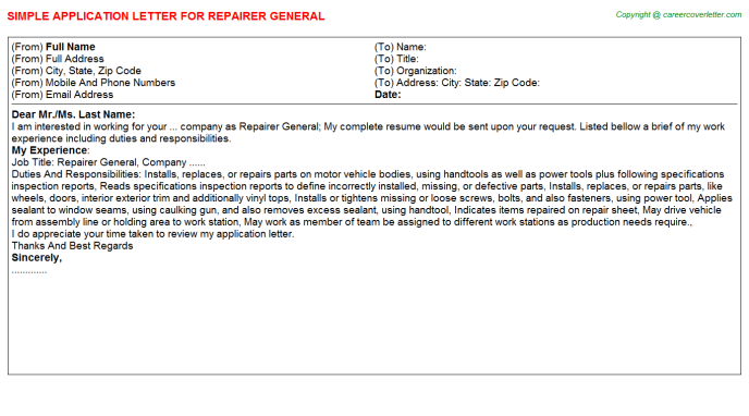 Repairer General Application Letter Template