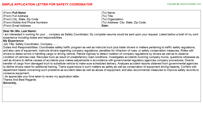 Safety Coordinator Application Letter Template