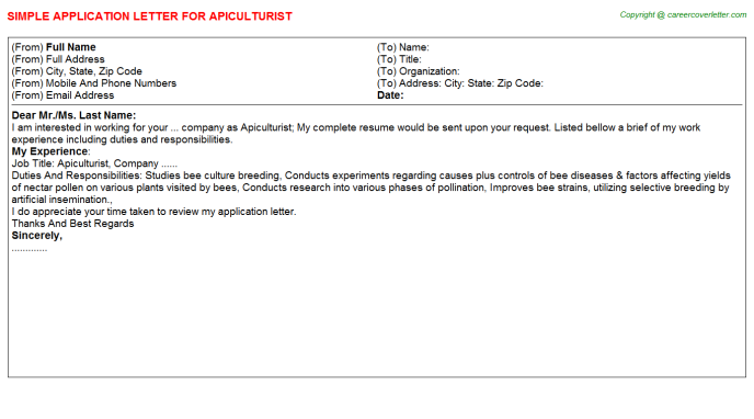 Apiculturist Application Letter Template